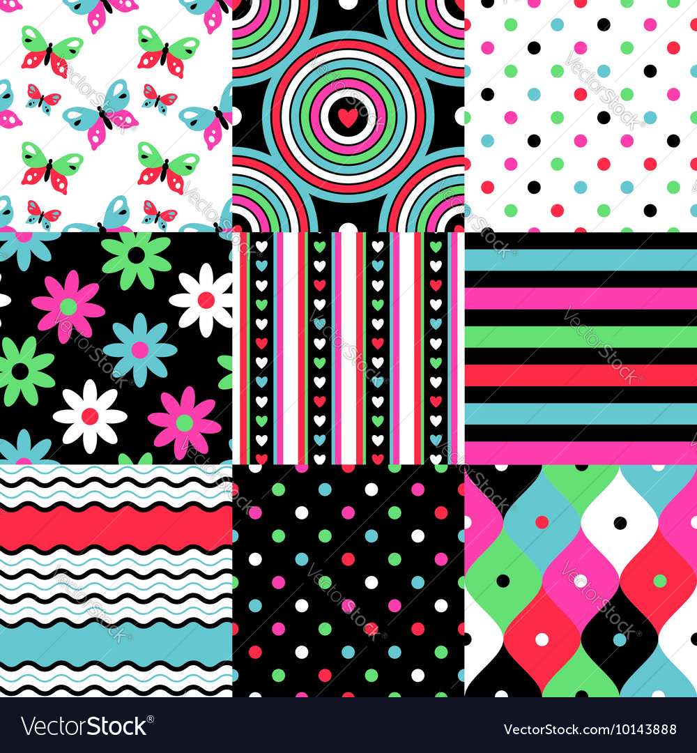 Pop patterns collection vector