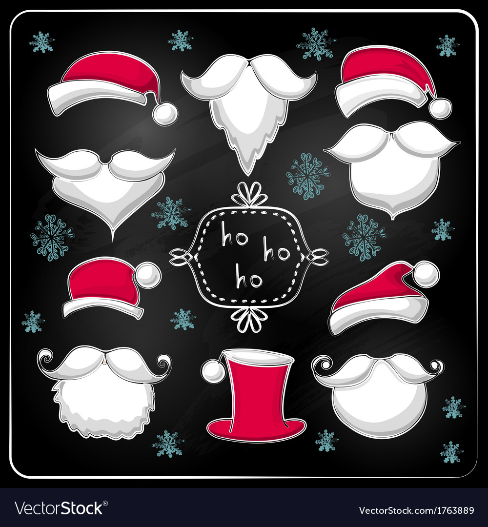 Christmas set with santa claus on chalkboard vector