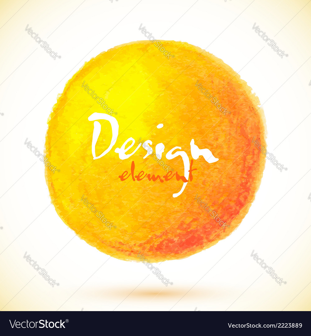 Orange isolated watercolor paint circle vector