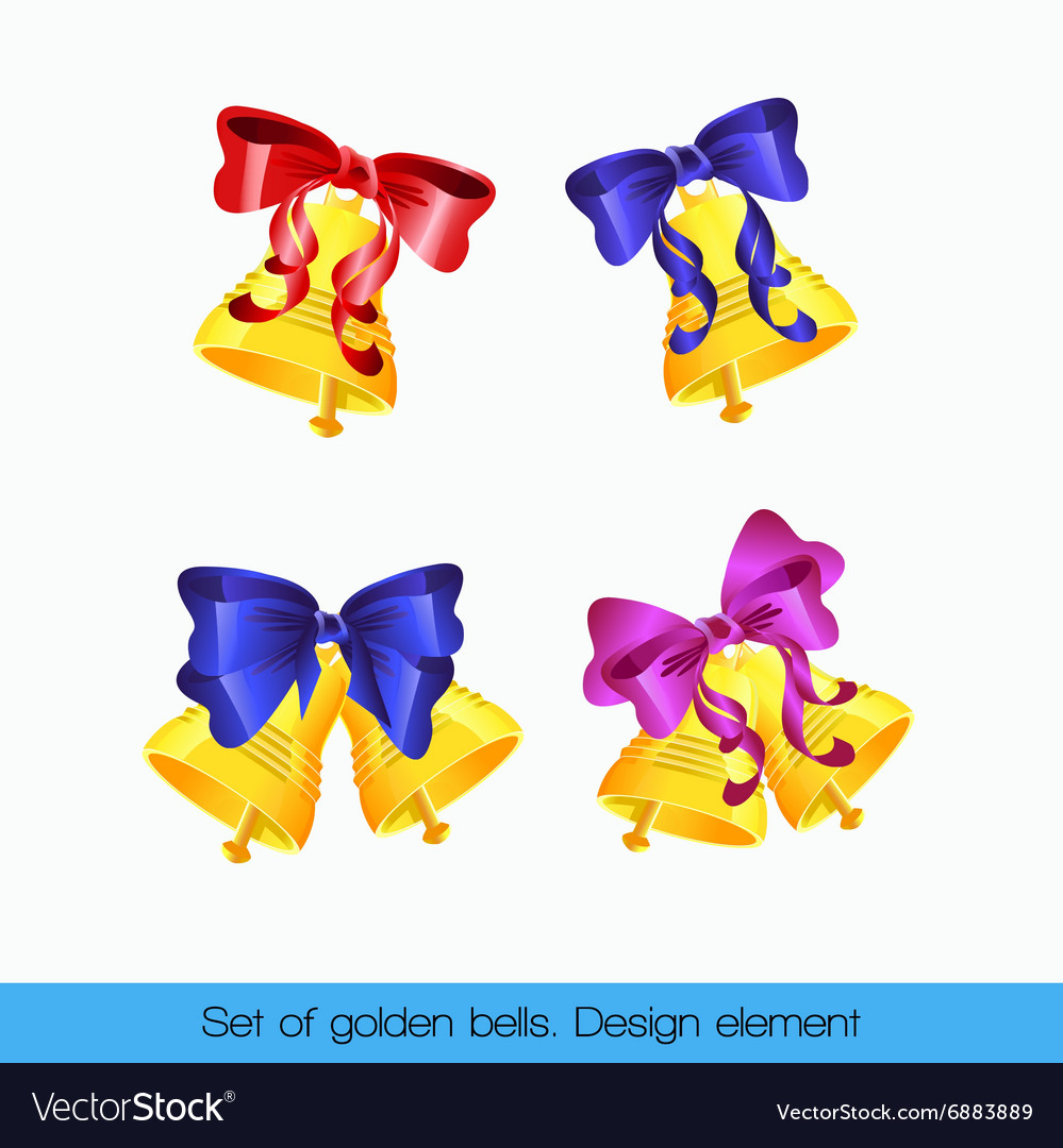 Set of golden bells vector