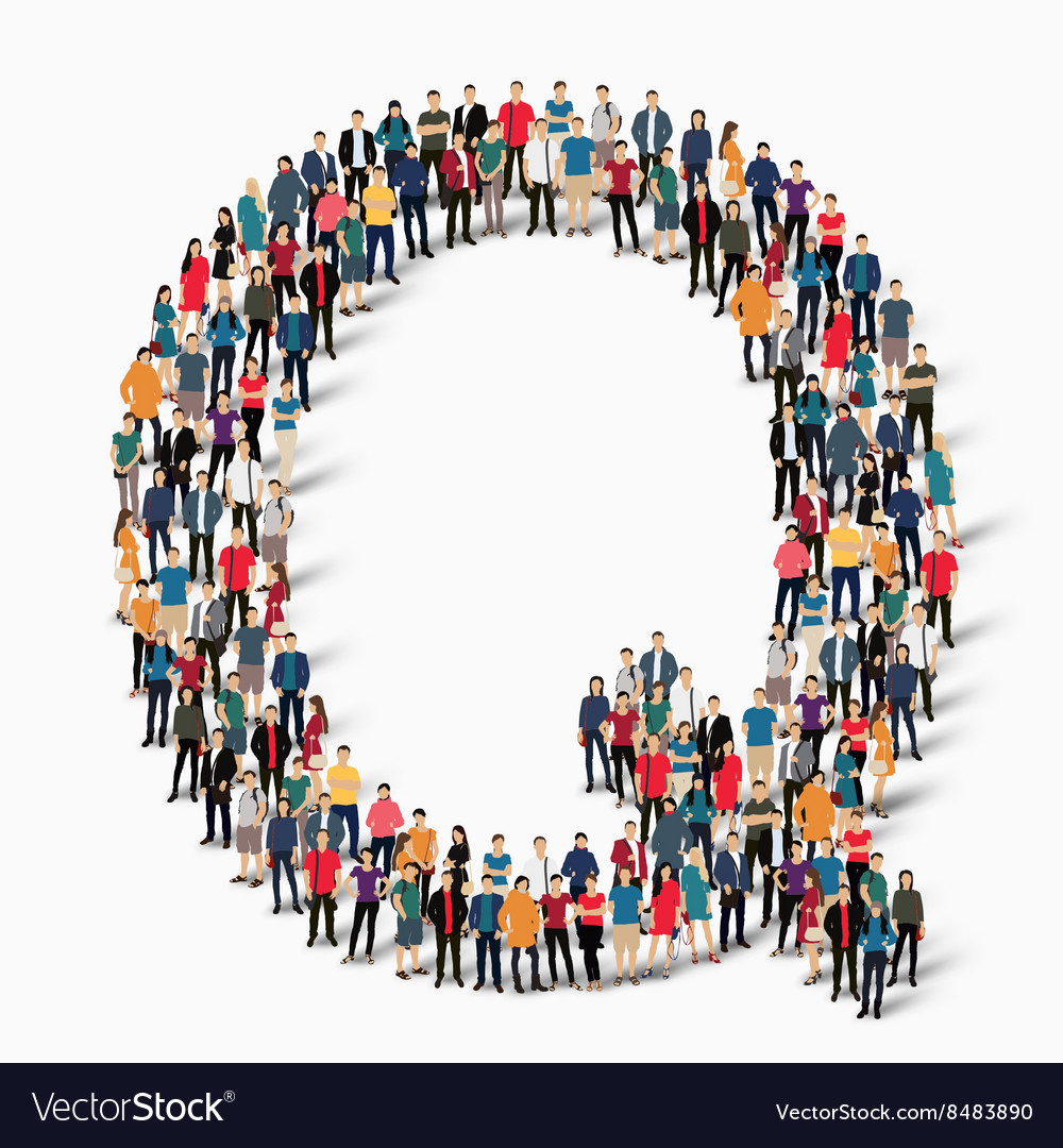 Group people shape letter q vector