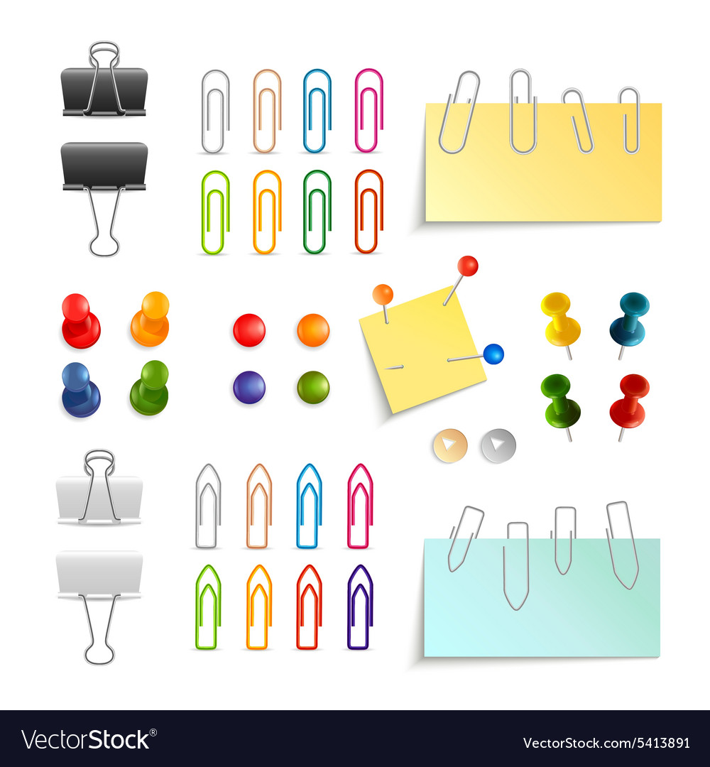 Paper clip and pin set vector