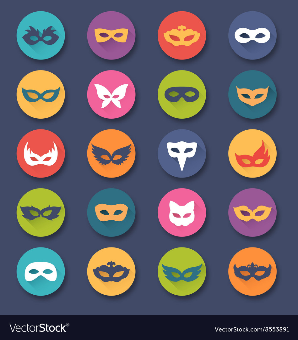 Set collection of circle carnival masquerade masks vector
