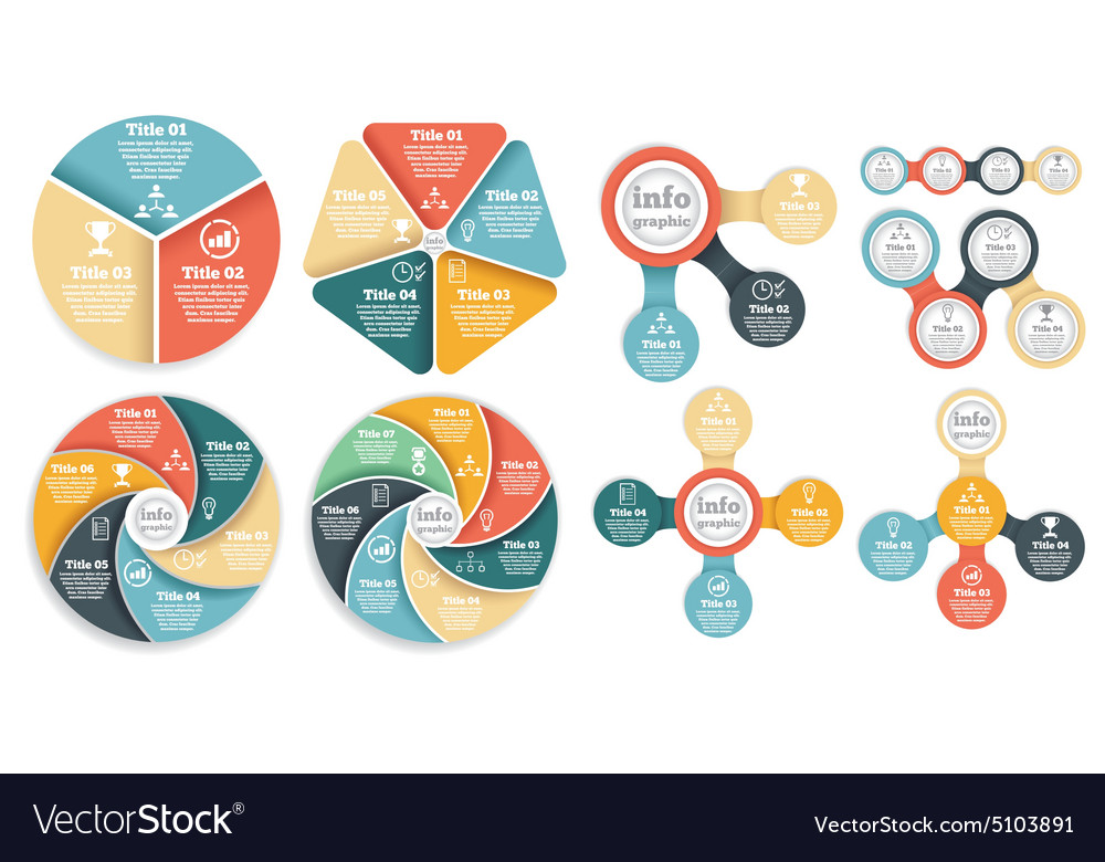 Set of business circle info graphic diagram vector