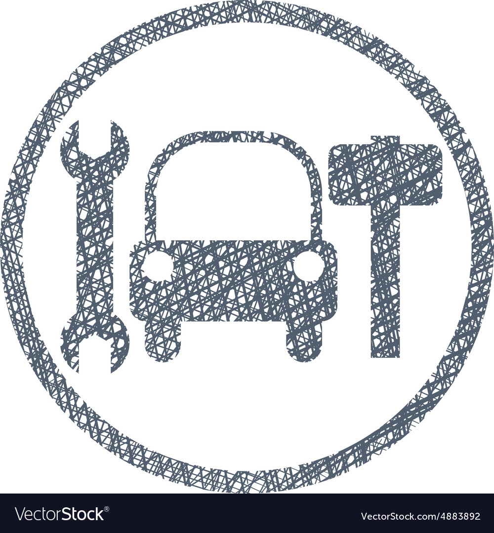 Car service sign with hand drawn lines texture vector