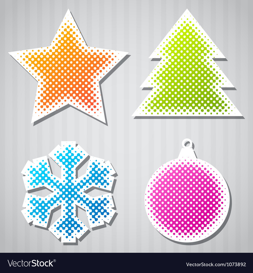 Christmas sticker icons vector