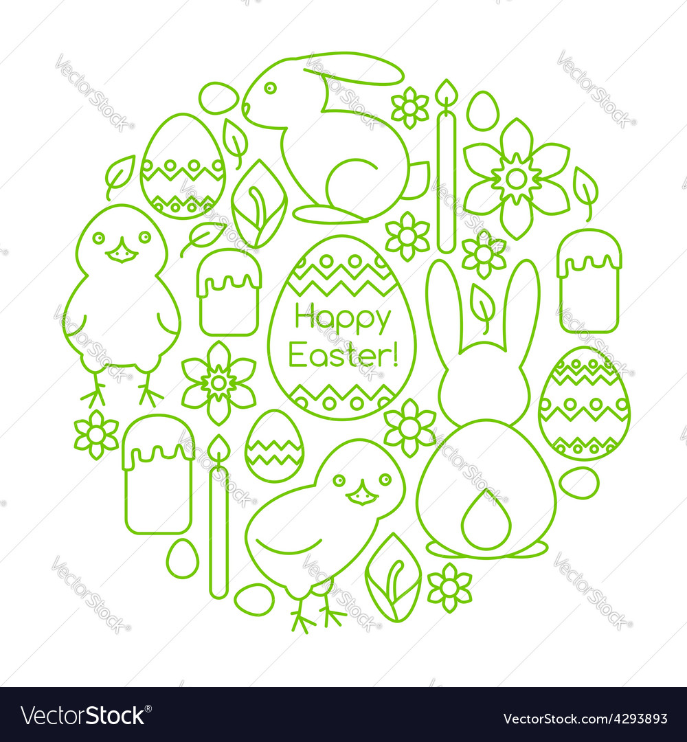 Composition of easter symbols line art vector