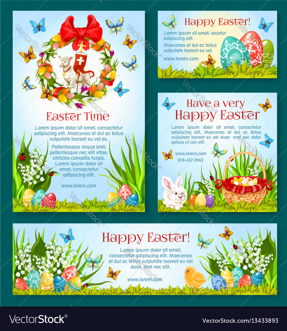 Easter holiday greetings banner template design vector