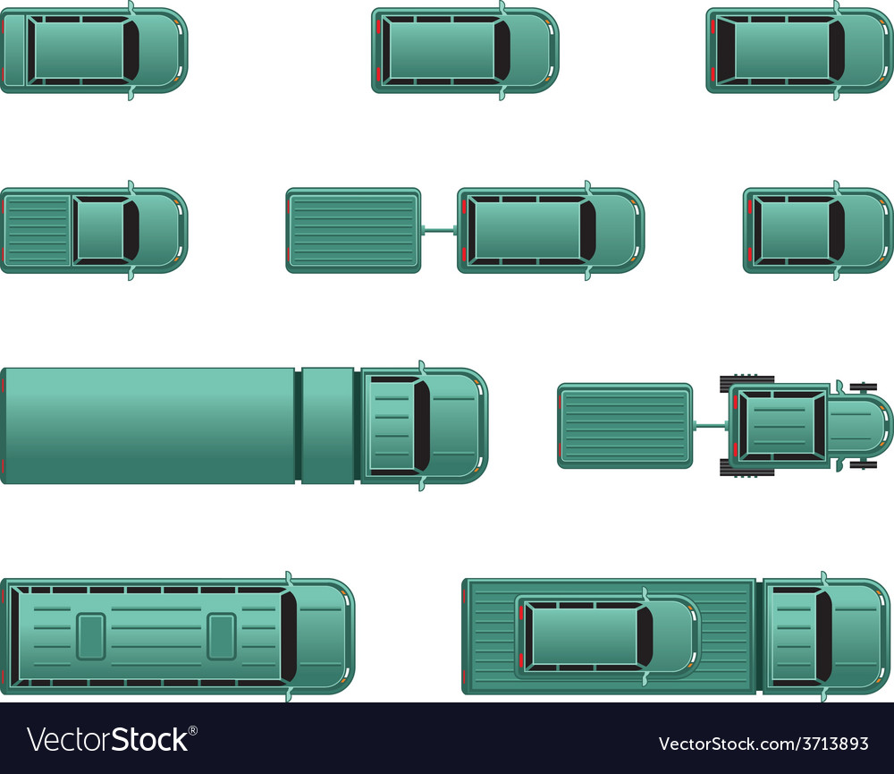 Top view different automobiles vector