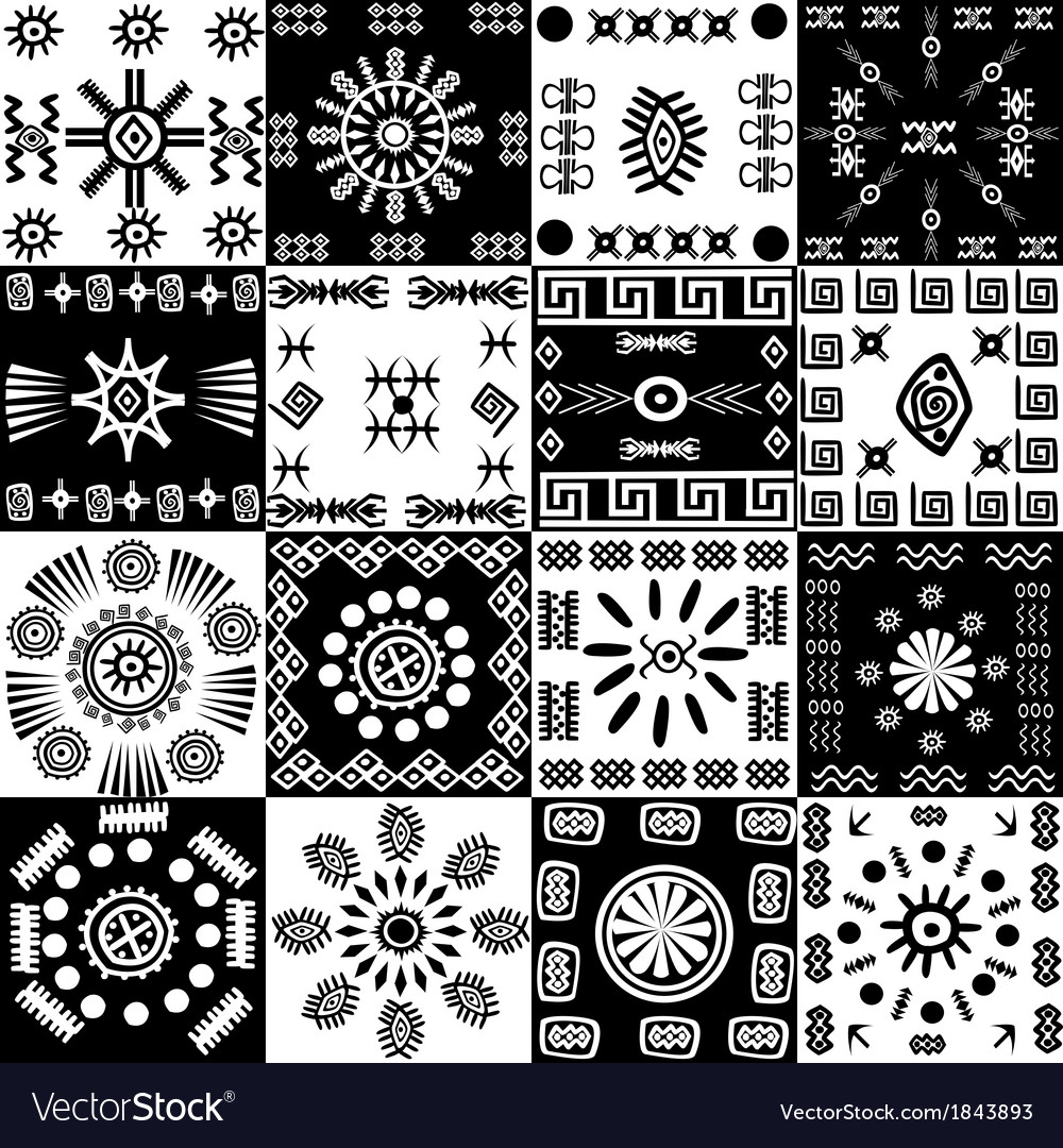 Tribal background set of ethnic elements vector