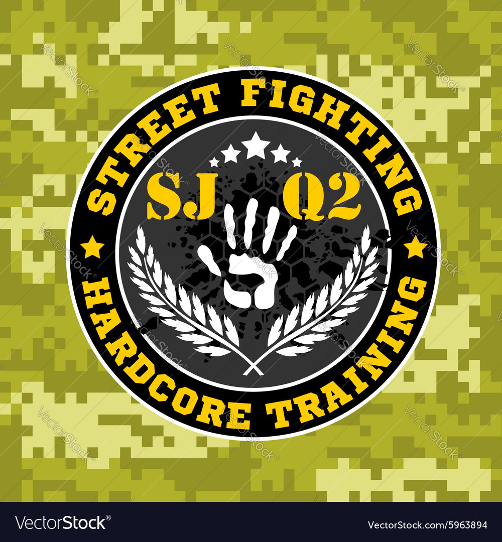 Street fighting emblem with military elements on vector