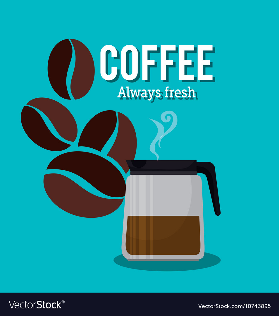 Coffee maker pot glass beans graphic vector