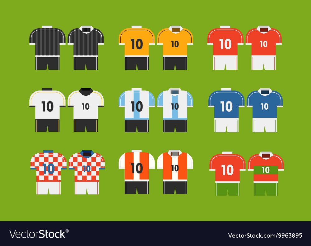 Different soccer team tshirts clipart vector