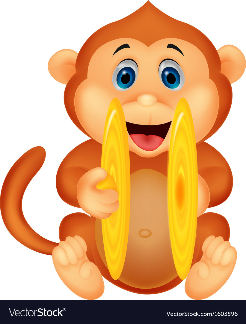 Cute monkey cartoon playing cymbal vector