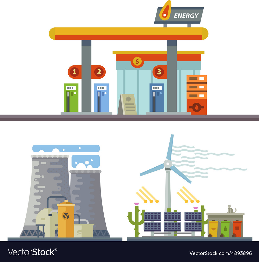 Energy and gas station vector