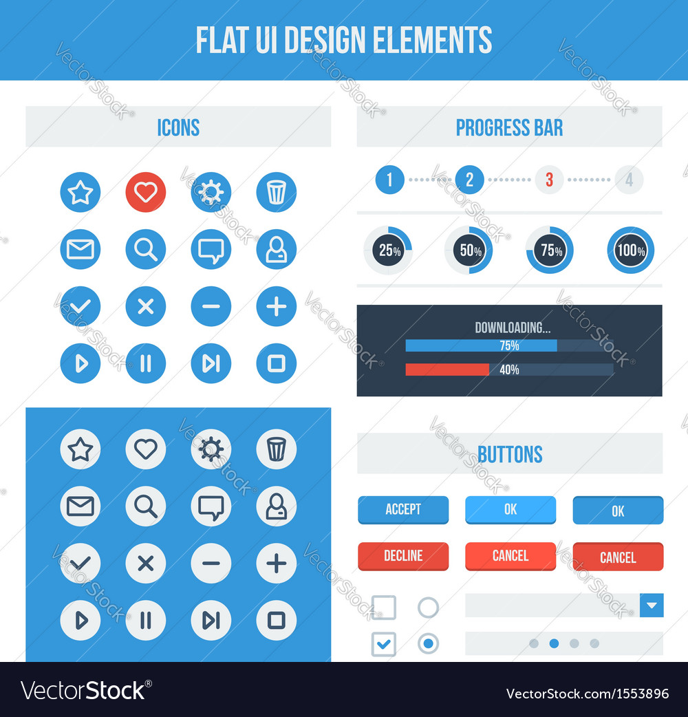 Flat ui basic design elements set vector