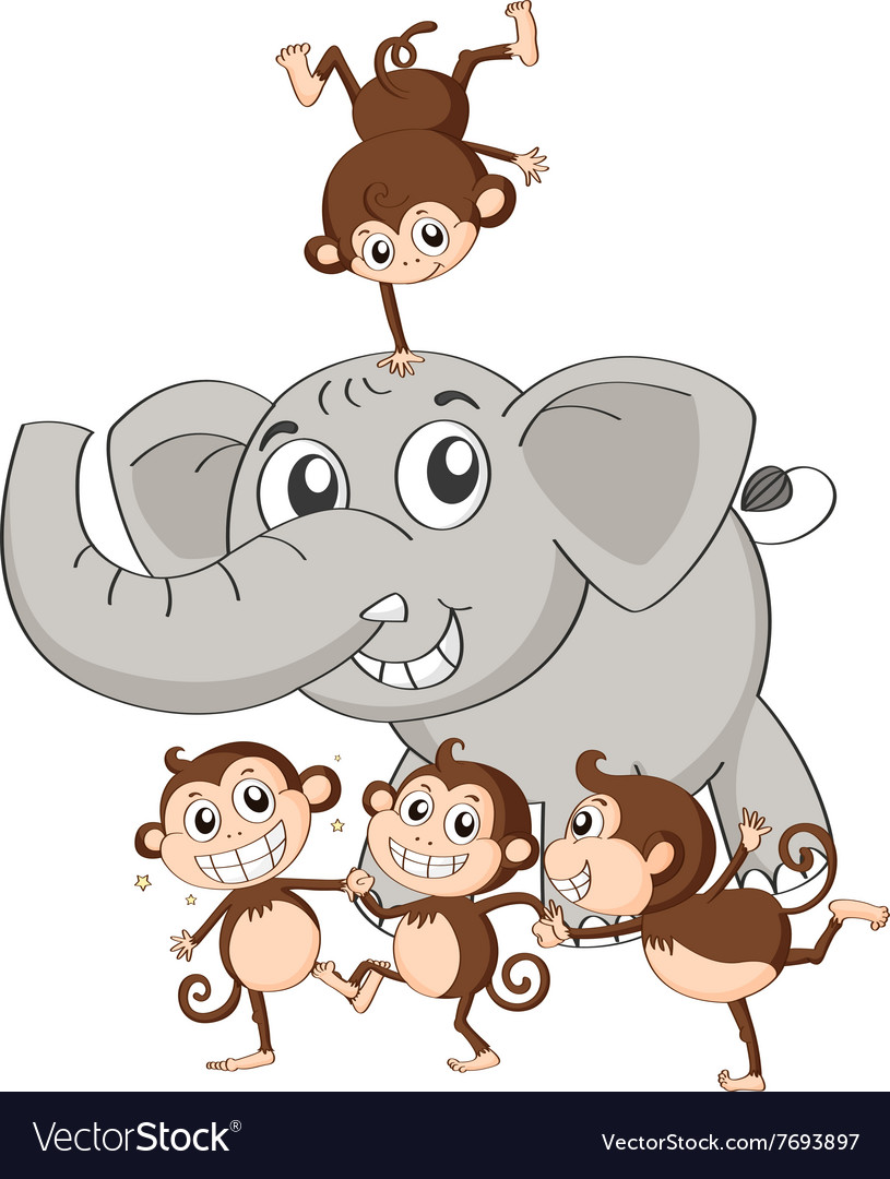 Gray elephant and four little monkeys vector