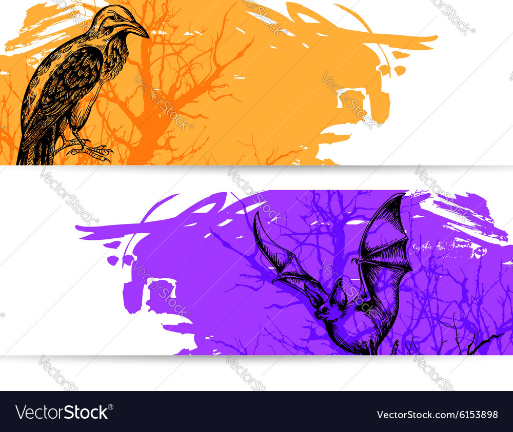 Horizontal banners for halloween vector