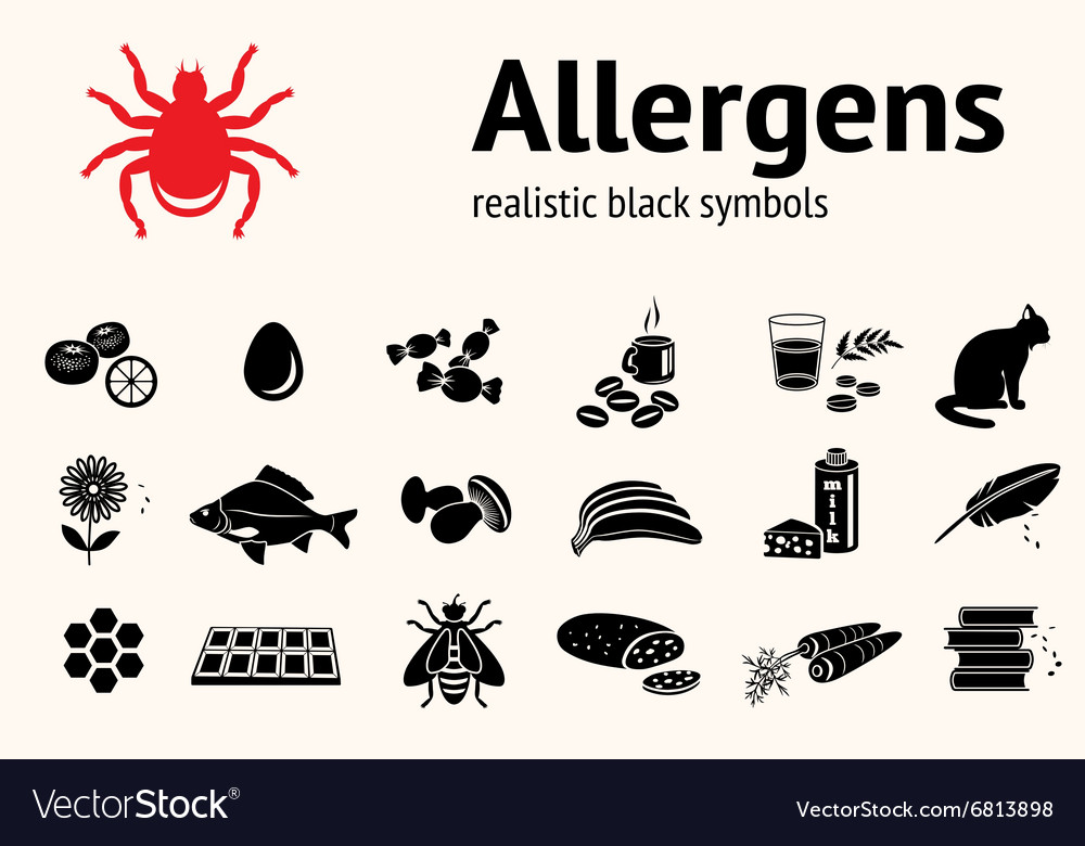 Medical allergy icon set food and common vector