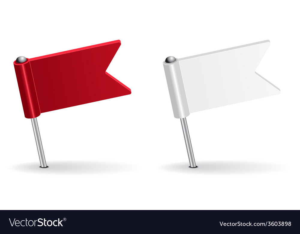 Red and white pin icon flag vector