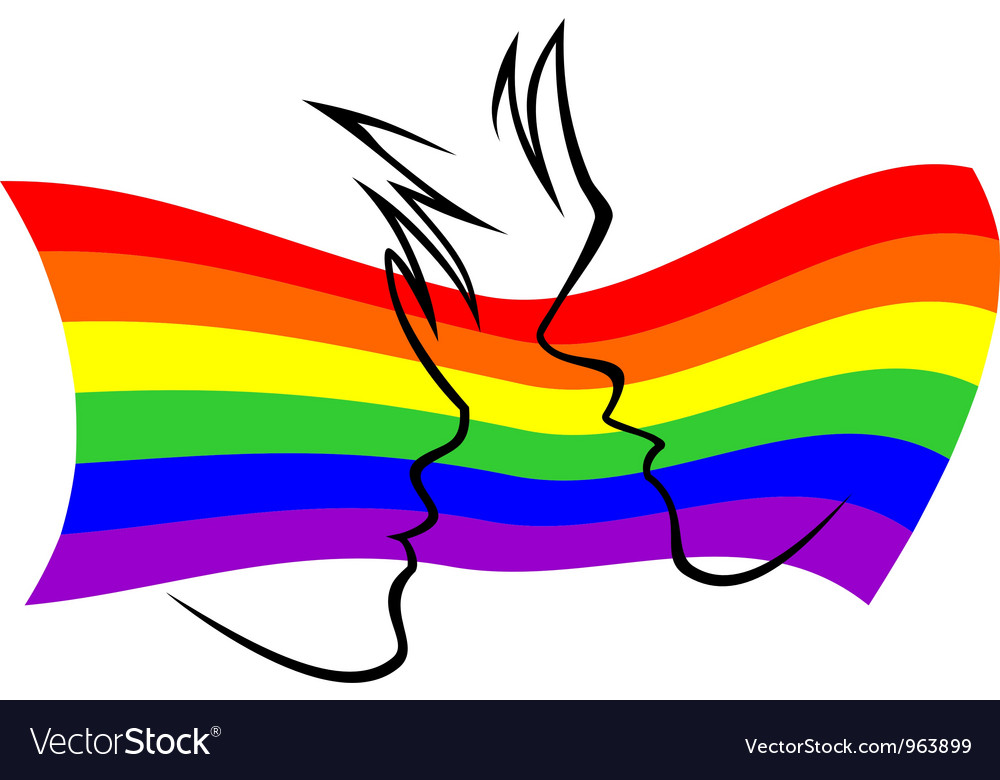 Gay flag with silhouetted couple vector