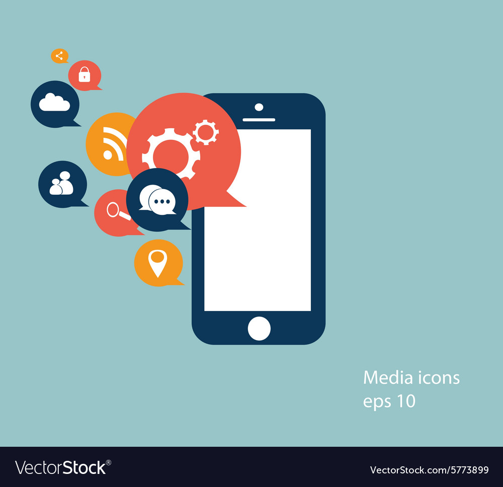 Mobile media icons vector