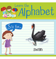 Flashcard letter S is for swan vector image