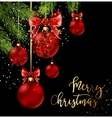 Christmas balls with red ribbon and bows vector image