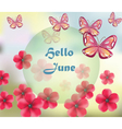 Hello June background with flowers vector image