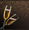 two glasses with champagne on a black background vector image vector image