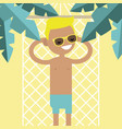 young male character lying in a hammock under the vector image