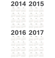 Set of russian 2014-2017 year calendars vector image