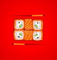 sushi with chopsticks vector image vector image