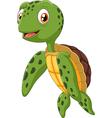 Cute sea turtle cartoon waving hand vector image vector image