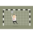 Businessman goalkeeper blocking the shoot vector image