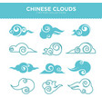 chinese curly clouds in tender blue colors filled vector image