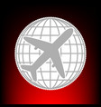 globe and plane travel sign postage stamp or old vector image