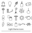 light theme modern simple black outline icons vector image