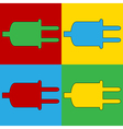 Pop art power cord icons vector image