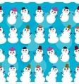 Seamless pattern cute cartoon snowmen on blue vector image