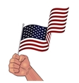 Man hand holding waving USA flag vector image