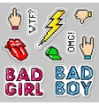 Fashion patch badges with lips hat bad boy vector image