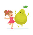 happy girl having fun with fresh smiling pear vector image