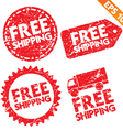 Stamp stitcker Free Shipping tag collection - vector image
