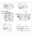 Set houses and blueprint vector image