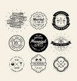 Vintage retro wedding logo frame design element vector image vector image