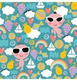 Cool baby on vacation seamless pattern vector image