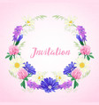 cute invitation with floral wreath vector image