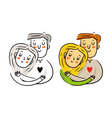 Freehand cartoon cuddling couple in love bright St vector image
