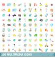 100 multimedia icons set cartoon style vector image